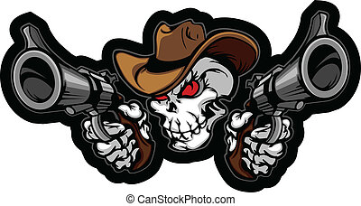 瞄准, 槍, 頭骨, 牛仔