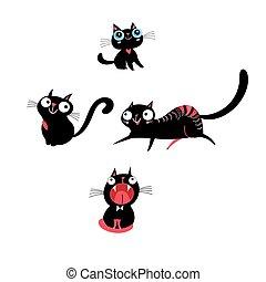 矢量, 不同, 集合, 擺在, 小貓