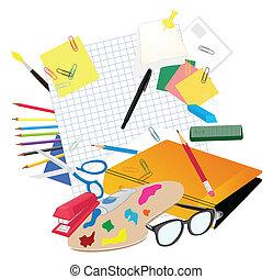 矢量, 主題, 集合, school., 插圖