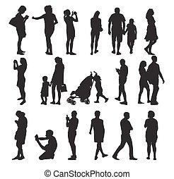 矢量, 人們。, 集合, 黑色半面畫像, illustration.