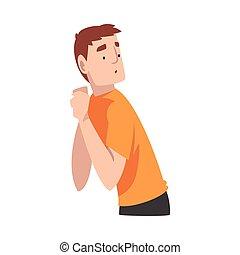 矢量, 人, 旋轉, away., illustration., 橙色的襯衣