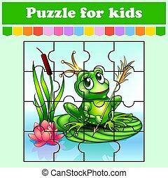 矢量, 公主, 謎, worksheet., 游戲, 難題, illustration., 卡通, preschool., 教育, kids., style., frog., 活動, 被隔絕的 顏色, page.