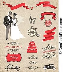 矢量, 圖表, 集合, 元素, 婚禮