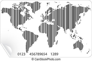矢量, 地圖, 概念, barcode, 世界