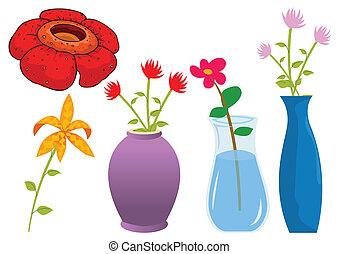 矢量, 多樣混合, 花, 插圖, 自然