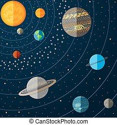 矢量, 太陽系, 插圖, planets.