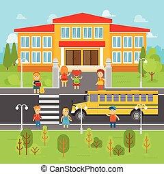 矢量, 套間, 學校孩子, illustration., elements., 背, infographic, 公共汽車, 去, 孩子