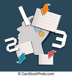 矢量, 布局, -, 三, 紙, 步驟, 樣板, infographics