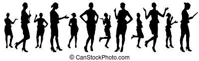 矢量, 從事工商業的女性, 集合, silhouettes., 不同, 擺在, 插圖