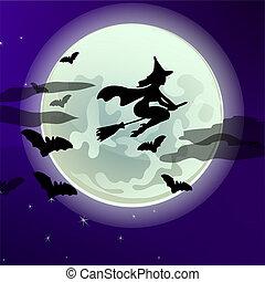 矢量, 或者, 特寫鏡頭, midnight., 黑色半面畫像, illustration., 海報, 飛行, 万圣節, 問候, 月亮, 主題, 充分, 巫婆, 背景, 黨, 假期, 卡通, 卡片, broomstick