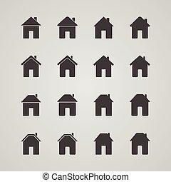 矢量, 房子, 集合, 圖象, 插圖