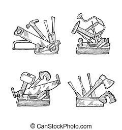 矢量, 手, 畫, 集合, 工具, 木製品