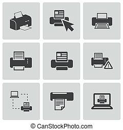 矢量, 打印机, 集合, balck, 圖象