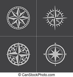 矢量, 指南針, 集合, 黑色, 圖象