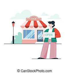 矢量, 插圖, 商店, 打開, 商人