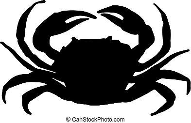 矢量, 插圖, 螃蟹, 黑色半面畫像