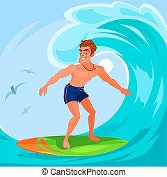 矢量, 插圖, 衝浪運動員