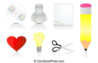 矢量, 插圖, 集合, icons., 辦公室