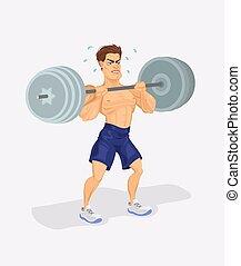 矢量, 插圖, weightlifter