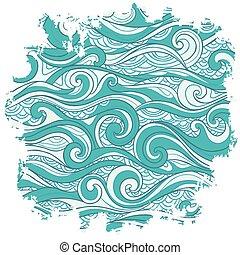 矢量, 摘要, 背景, 波浪