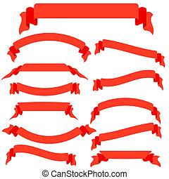 矢量, 旗幟, 集合, 紅色, 帶子, 插圖