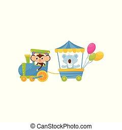 矢量, 有趣, 很少, 考拉, 明信片, 鮮艷, 套間, train., 或者, 生日, animals., 書, 設計, 旅行, 字符, 印刷品, 卡通, 孩子, 猴子