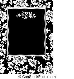 矢量, 框架, 枝杈, 黑色