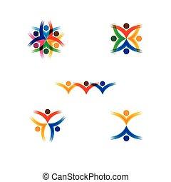 矢量, 概念, 鮮艷, 學校, 人們, -, 集合, 圖象, 環繞, 孩子