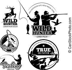 矢量, 標籤, 象征, 釣魚, 葡萄酒, 理念, 集合, 打獵