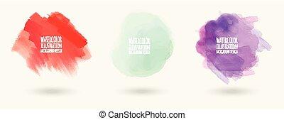 矢量, 汙點, 水彩, 背景, 畫, 顏色