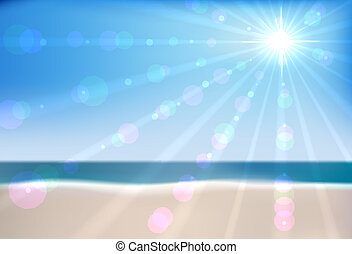 矢量, 海灘, 夏天, file., eps10, 海, 背景。