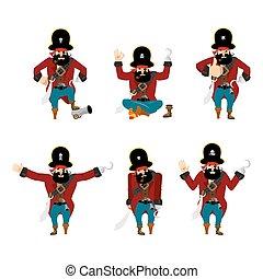 矢量, 海盜, sad., motion., angry., 集合, yoga., 愉快, 睡覺, filibuster, 有罪, 擺在, 插圖, 海盜, 漫游者