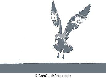 矢量, 海鷗, 自然, 插圖