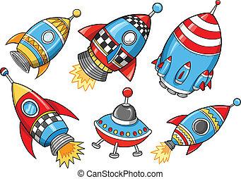 矢量, 漂亮, 集合, 超級, 火箭