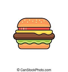 矢量, 漢堡包, 圖象, 簽署