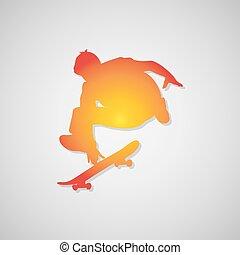 矢量, 玩滑板的人, 圖象, orange., 陰影, 插圖