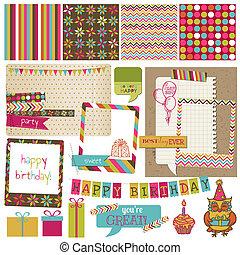 矢量, -, 生日, 設計, retro, 剪貼簿, 邀請, 元素, 慶祝