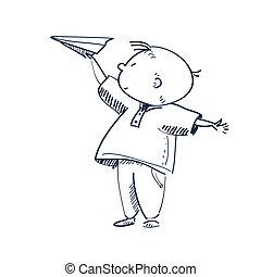 矢量, 男孩, 飛機, 插圖