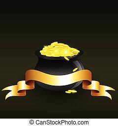矢量, 硬幣, 充分, 大鍋, 金