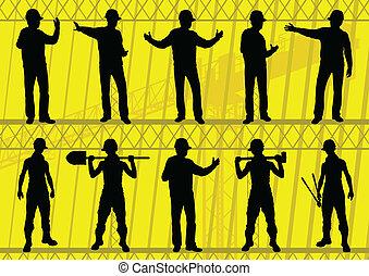 矢量, 站點, 插圖, 黑色半面畫像, 建設, 彙整, 背景, 建造者, 工程師
