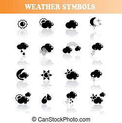 矢量, 符號, 天氣, 集合