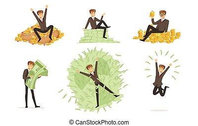 矢量, 第一流, 人, 錢。, illustration., 洗澡, 服裝