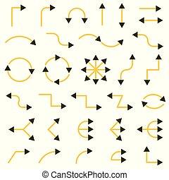 矢量, 箭, style., 彙整, bicolor