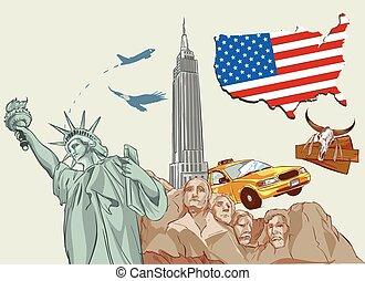 矢量, 美國, 插圖