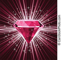 矢量, 背景。, 明亮, 鑽石, 紅色