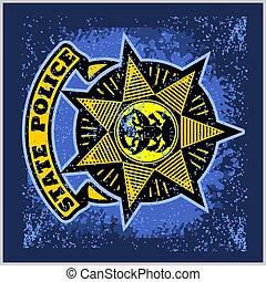 矢量, 背景。, grunge, 標簽, 警察, 盾, 徽章
