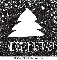矢量, 葡萄酒, 插圖, 樹。, 圣誕節卡片