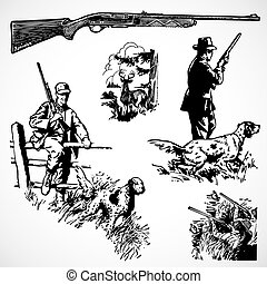 矢量, 葡萄酒, 步槍, 打獵, 圖像