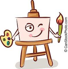 矢量, 藏品, 背景, 畫架, 帆布, 白色, 顏色, 刷子, 插圖