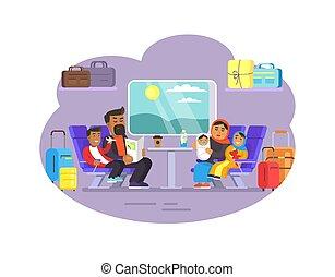 矢量, 訓練, 旅行, 插圖, 人們